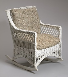 Wicker rocking chair from Shearer Cottage