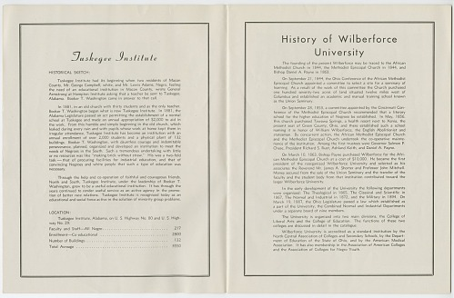 Image for Program for a college football game between Wilberforce and Tuskegee, 1944