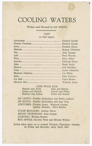 Image for Cast listing for Shearer Summer Theatre's production of Cooling Waters
