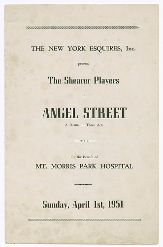 Image for Program for the Shearer Players' production of Angel Street