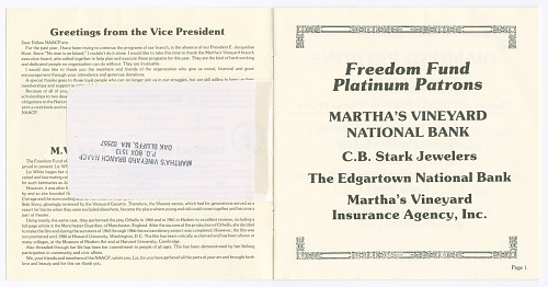 Image for Martha's Vineyard NAACP Annual Freedom Fund Souvenir Journal