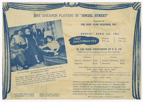 Image for Flyer for Shearer Players' production of Angel Street