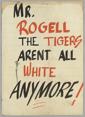 Sign about the integration of the Detroit Tigers