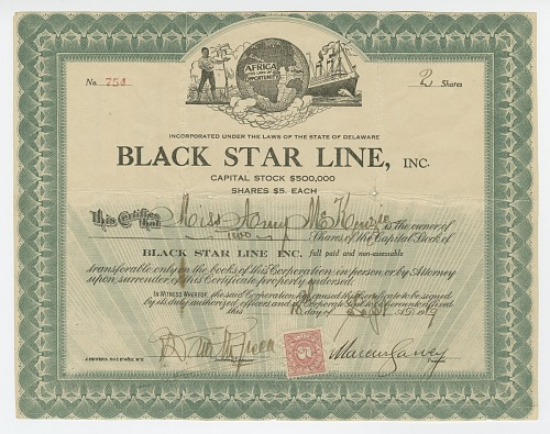 Image for Stock certificate issued by Black Star Line to Amy McKenzie
