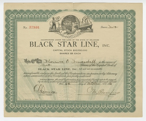 Image for Stock certificate issued by Black Star Line to Florence O. Truesdell