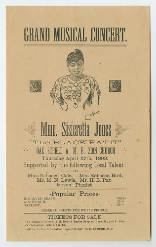 Image for Broadside for a performance by Madame Sissieretta Jones