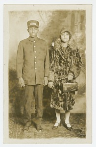 images for Photographic postcard of Pullman Porter, Omer Ester and his wife Jean-thumbnail 1