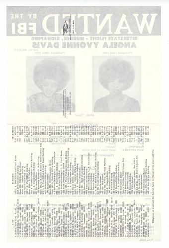 Image for FBI Wanted poster for Angela Davis