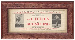 Advertisement for boxing match between Joe Louis and Max Schmeling