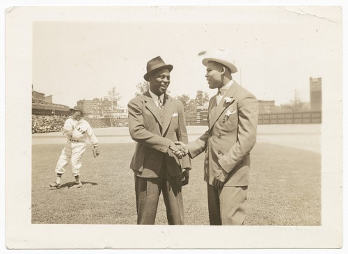 Image for Photographic print of Joe Louis shaking hands with unidentified man