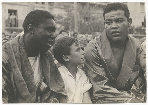 Image for Photographic print of Joe Louis with an unidentified man and boy