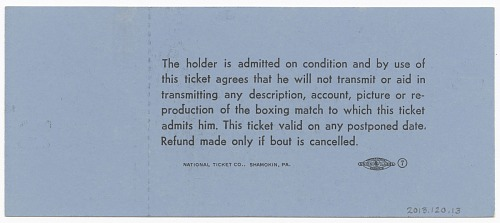 Image for Ticket for boxing match between Muhammad Ali and Sonny Liston