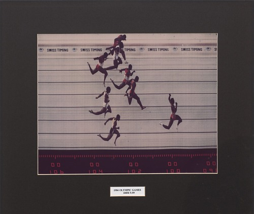 Image for Framed color photograph of the 1984 Summer Olympics Men's 100M finish line