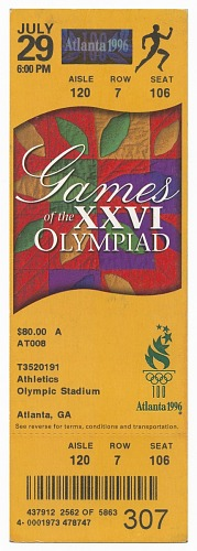 Image for Set of seven tickets for the 1996 Summer Olympics owned by Carl Lewis