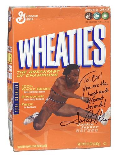 Image for Wheaties box inscribed to Carl Lewis by Jackie Joyner-Kersee