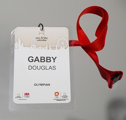 Olympics credentials badge for Gabby Douglas