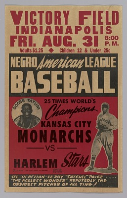 Poster advertising a game between the Kansas City Monarchs and the Harlem Stars