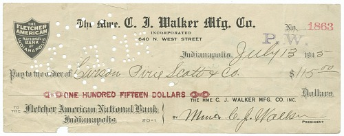 Image for Check signed by Madam C. J. Walker