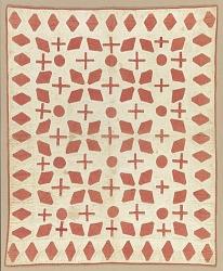 Cream and red appliqued quilted bedcover