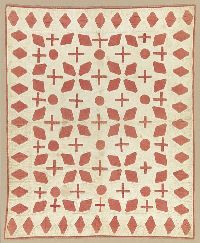 Image for Cream and red appliqued quilted bedcover