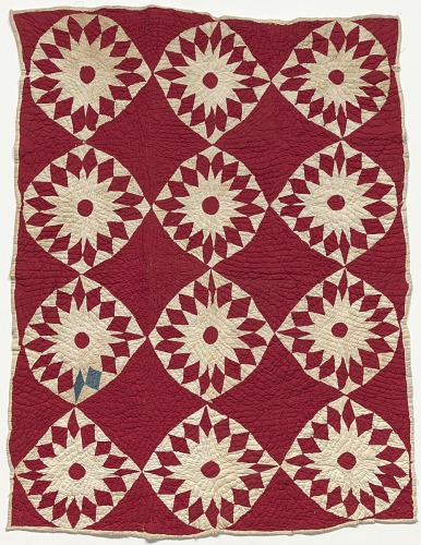 Image for Red and white pieced and appliqued star quilt