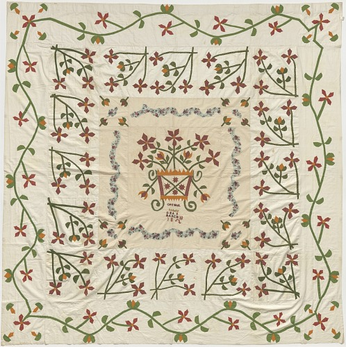Image for Red and green applique top for a bedcover