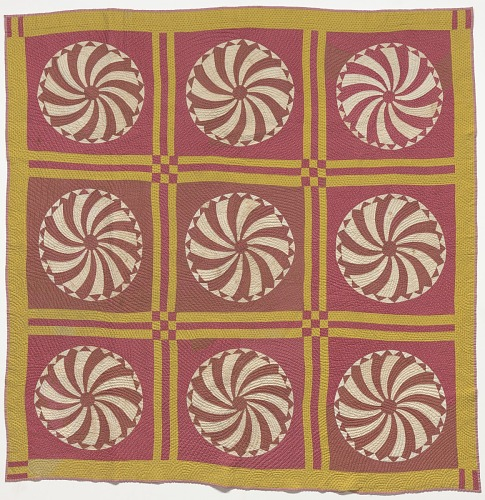 Image for Pink and yellow pinwheel quilt made by Elizabeth Salter Smith