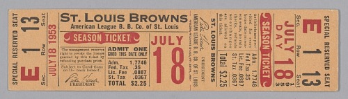 Image for Season ticket for the St. Louis Browns baseball team