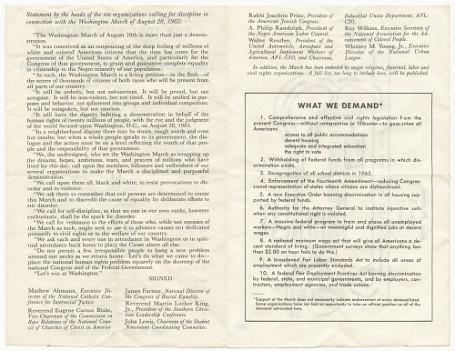 Image for Program from the March on Washington