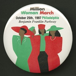 Pinback button promoting the Million Women March