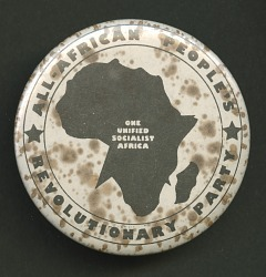 Pinback button promoting All-African People's Revolutionary Party