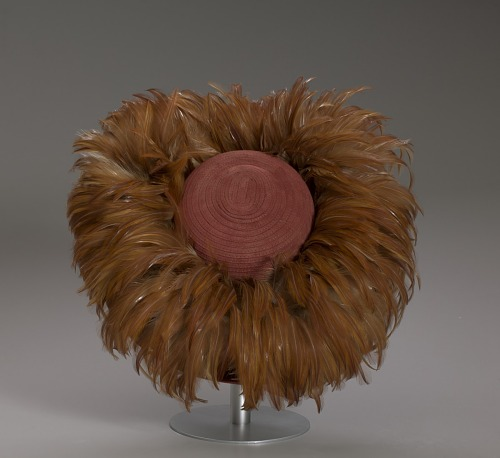 Image for Ochre colored rolled brim suede hat with feathers from Mae's Millinery Shop