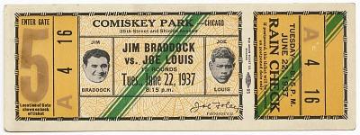 Ticket to a championship boxing match between Joe Louis and Jim Braddock
