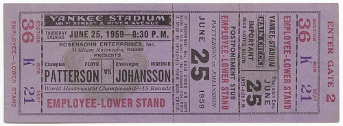 Image for Ticket to a boxing match between Floyd Patterson and Ingemar Johansson