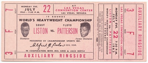 Image for Ticket to a championship boxing match between Floyd Patterson and Sonny Liston