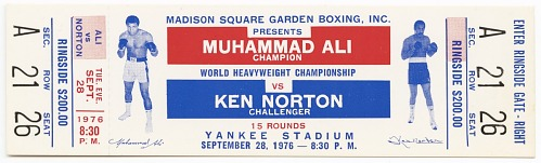 Image for Ticket to a championship boxing match between Muhammad Ali and Ken Norton