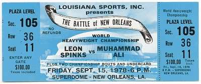 Ticket to a championship boxing match between Muhammad Ali and Leon Spinks