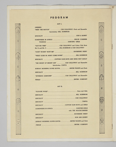 Image for Program / Menu from the Cotton Club