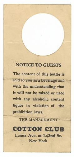 Image for Bottle tag from the Cotton Club