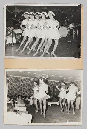 Image for Construction paper with two photographs of performing female dancers