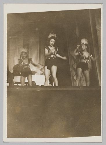Image for Photograph of Laura Cathrell and two female performers in costume