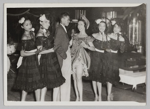 Image for Photograph of a man and five female performers in costume