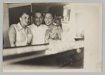 Photograph of Laura Cathrell, a man, and a woman