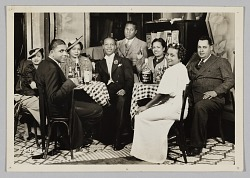 Photograph of Sally Cathrell, Paul Brown, and a group of men and women