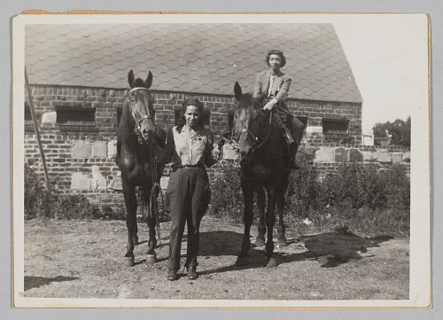Image for Photograph of Laura Cathrell, a woman, and two horses