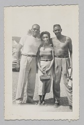 Photograph of Laura Cathrell and two men