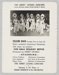 Advertisement card for Club 845's Gala Holiday Revue