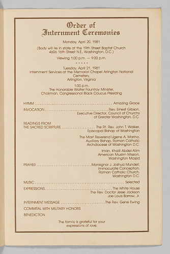 Image for Program for the interment services for Joe Louis