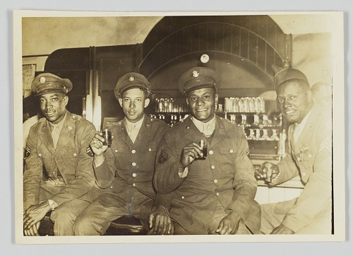 Image for Photographic print of four unidentified men in military uniforms