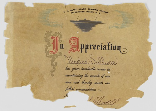 Image for Certificate of Appreciation from US Coast Guard to Maxine Sullivan